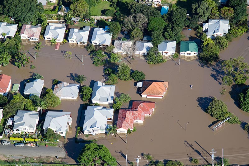 Houses and buildings during the Brisbane Queensland floods